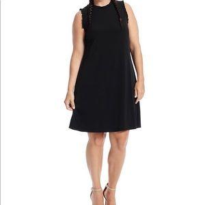 London Times Black Shift Dress with Ruffle Detail